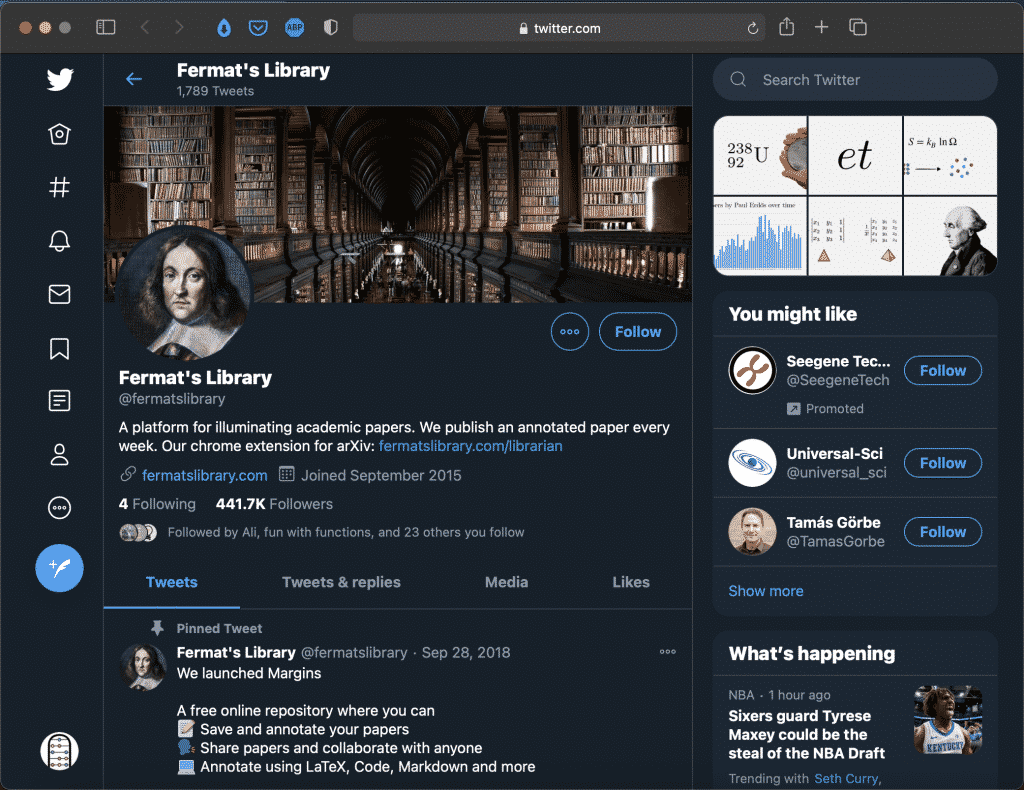 Fermat's Library on Twitter   Cool Facts About Math & Science   Abakcus
