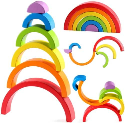 Lewo Wooden Rainbow Stacker Large Nesting Puzzle Blocks