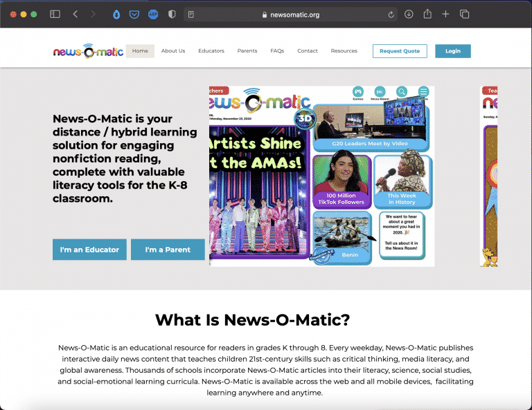 News-O-Matic | Daily News for Kids | Tools | Abakcus