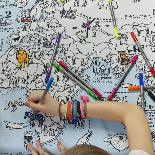 World Map Kid's Coloring Tablecloth