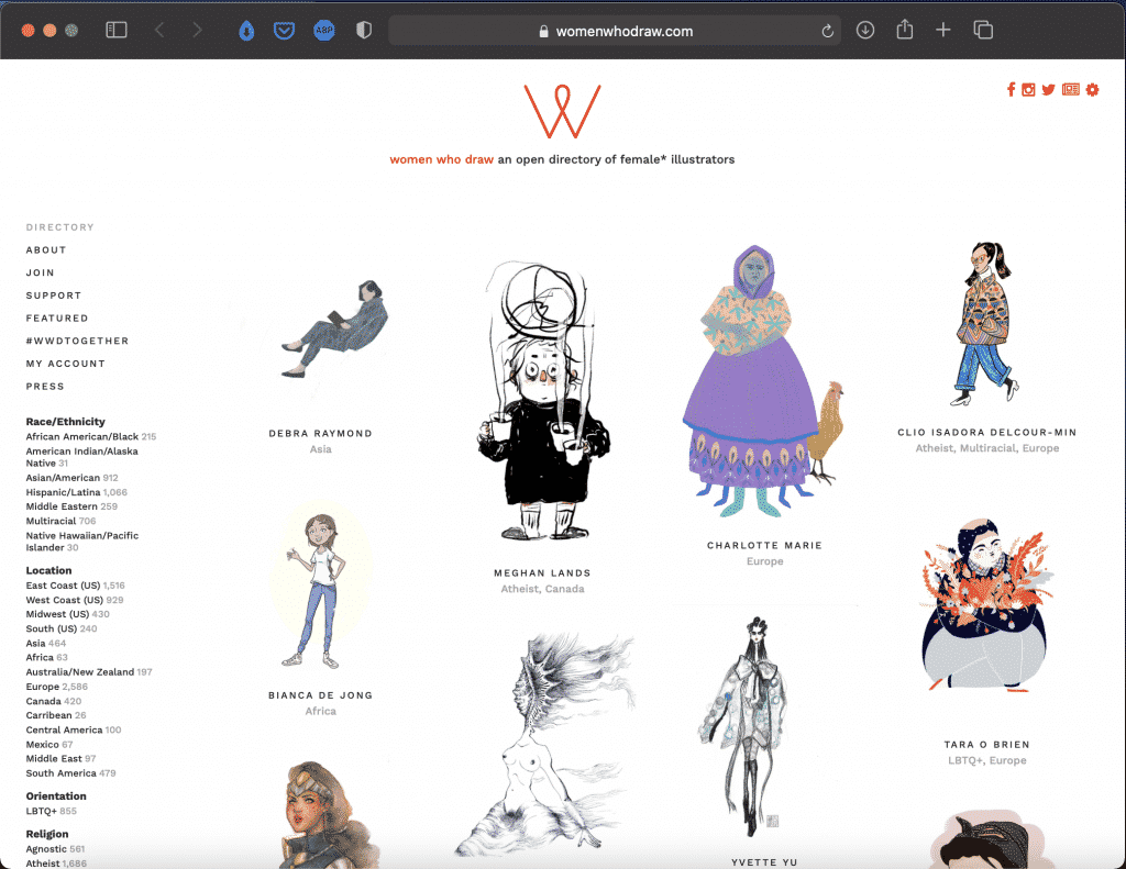 Women Who Draw | An Open Directory of Female Illustrators | Abakcus