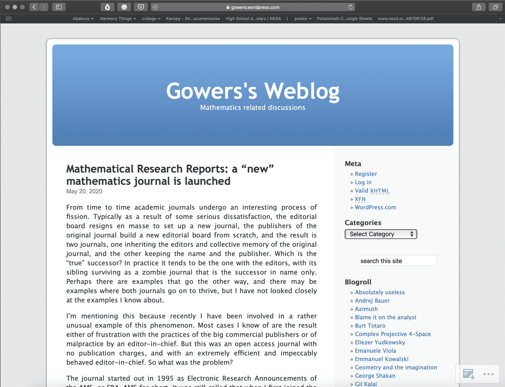 Gowers's Weblog | Best Math Blogs Directory | Abakcus