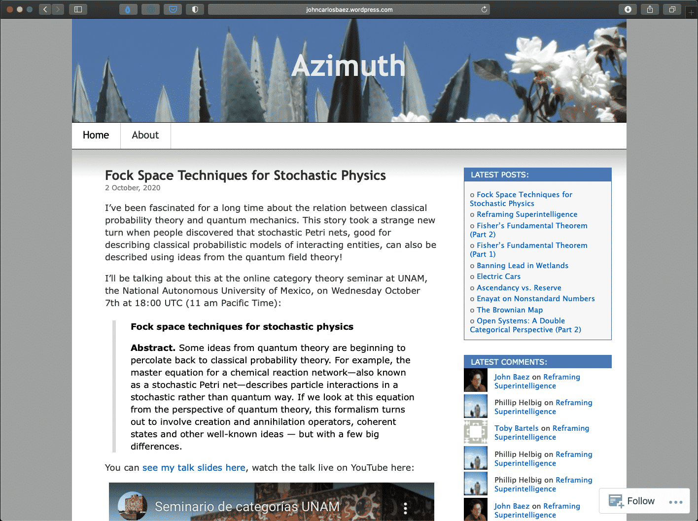Azimuth | Best Mathematics Blogs Directory | Abakcus