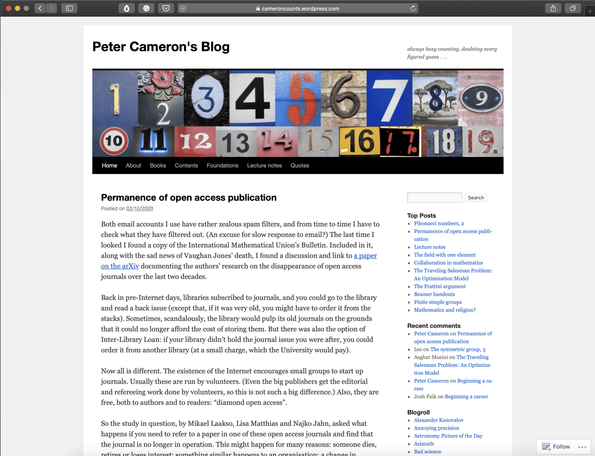 Peter Camerons' Blog | Best Math Blogs Directory | Abakcus
