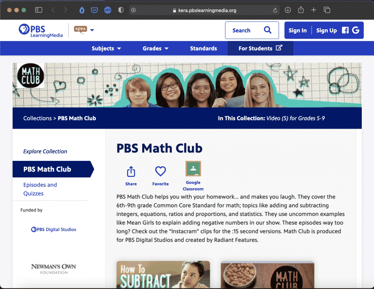 PBS Math Club | Websites for Teaching and Learning | Abakcus