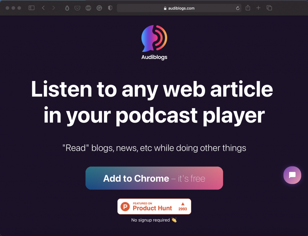 Audiblogs | Listen to Any Web Article in Your Browser | Abakcus
